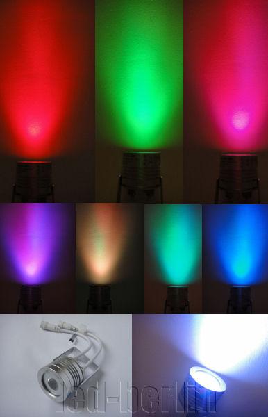 Led Strahler Innen : zu TRI LED RGB Aufbau Strahler Spot 3W 3in1 Multi ...